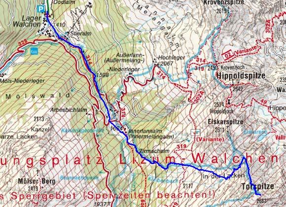 Torspitze (2663 m) vom Lager Walchen