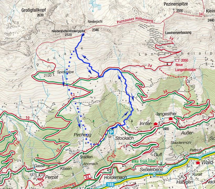 Niederjöchl-Wintergipfel (2320m) von Langesthei