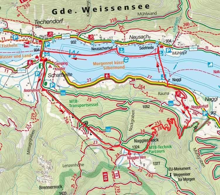 Naggler Alm von der Weissensee Bergbahn