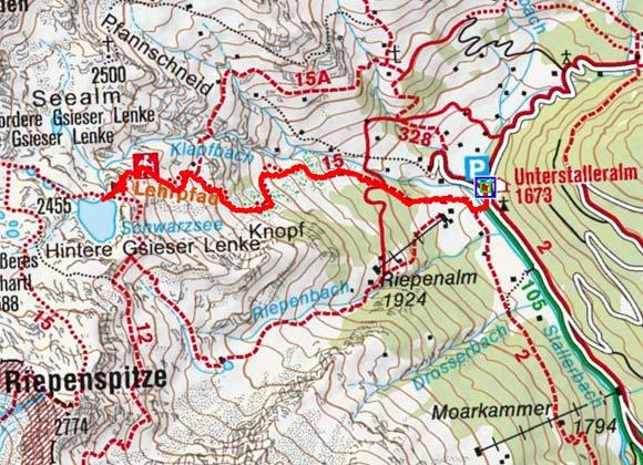 Schwarzsee (2455m) von der Unterstalleralm