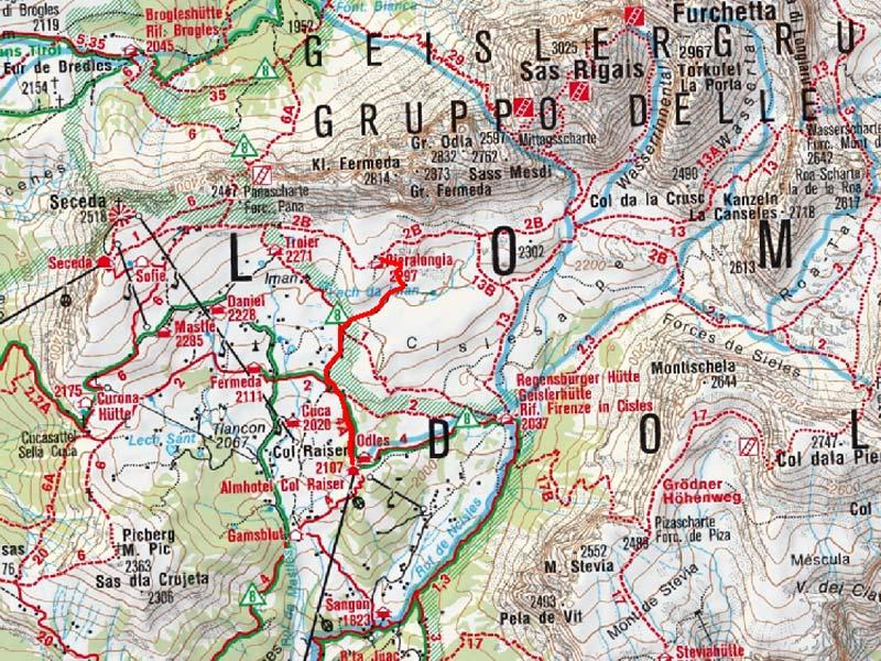 Pieralongia Alm von der Col Raiser Bahn