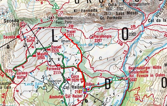 Troierhütte von der Col Raiser Bergbahn