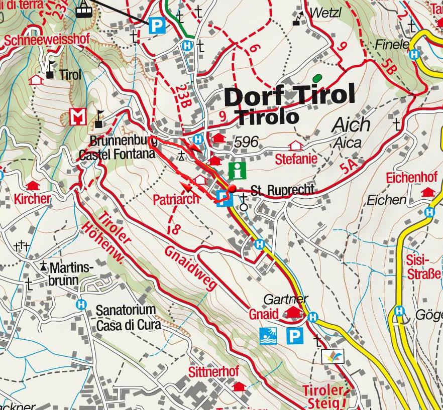 Falknerpromenade-Rundwanderung in Dorf Tirol