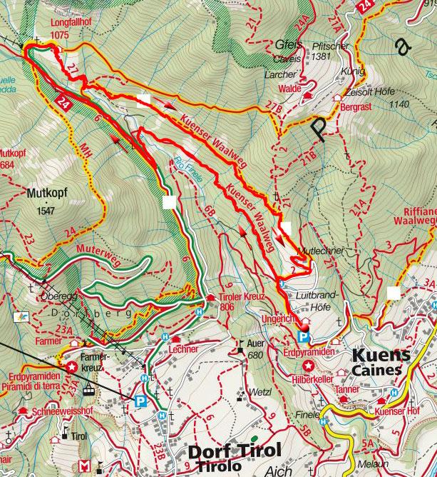 Kuenser Waalweg mit Gasthaus Longfall