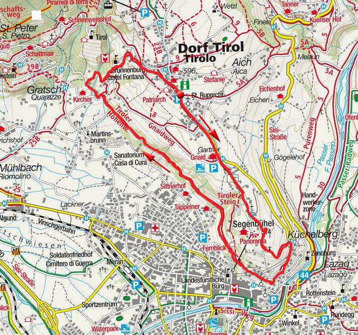 Tappeinerweg & Brunnenburg Rundwanderung von Dorf Tirol