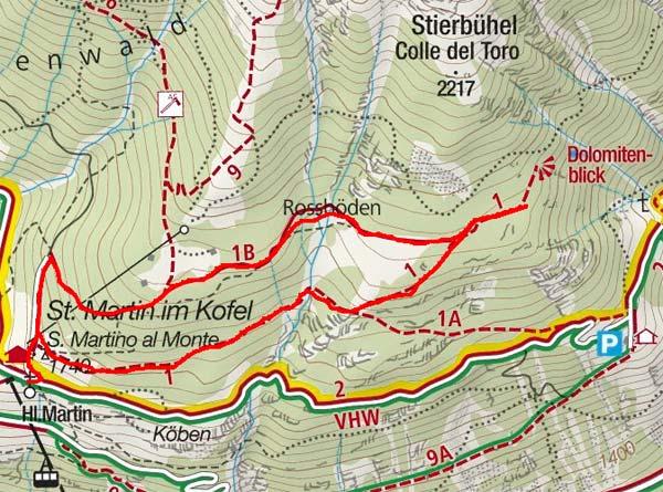 St. Martiner Alpl – Dolomitenblick Rundwanderung von St. Martin im Kofel