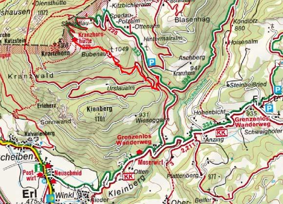 Kranzhorn Alm (Schützhütte Kranzhorn) vom Erler Berg