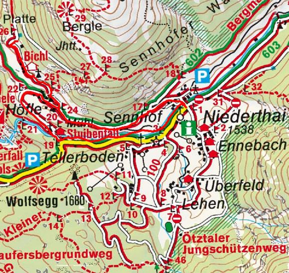 Bichl-Höfle-Platte Rundwanderung von Niederthai