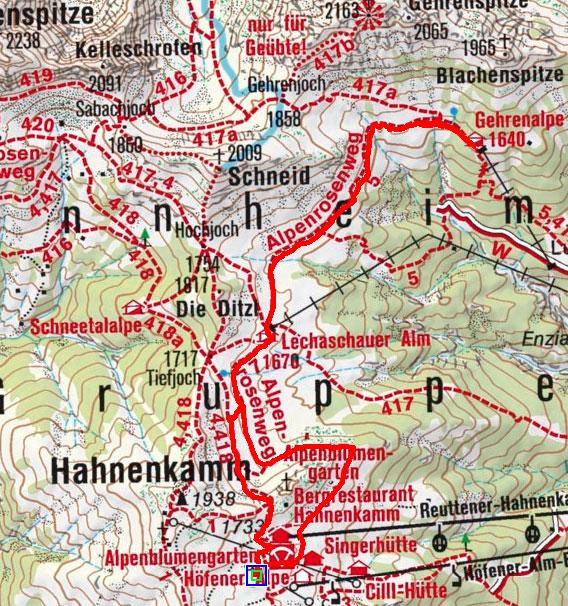 Gehrenalpe von der Bergstation Hahnenkammbahn