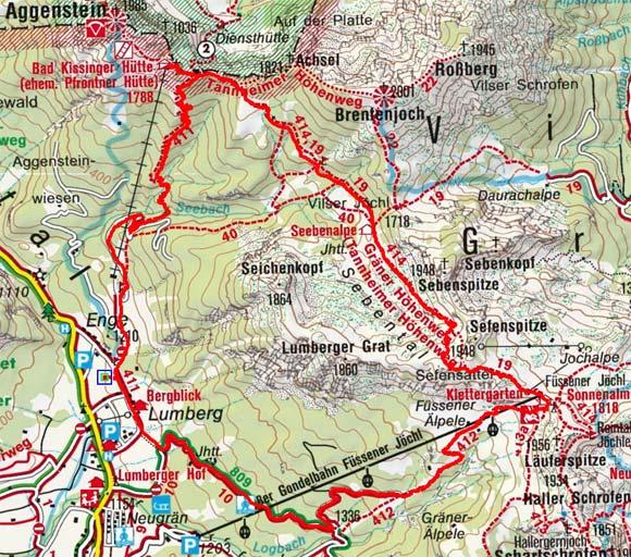 Gräner Höhenweg Rundwanderung mit Bad Kissinger Hütte