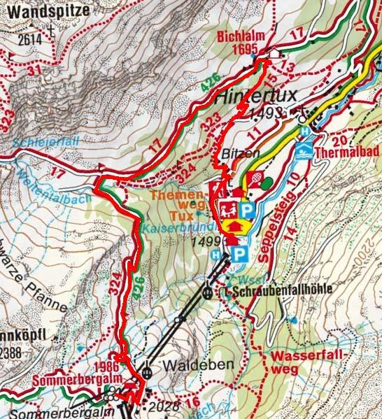 Sommerbergalm-Bichlalm-Talstation Hintertuxer Gletscherbahn
