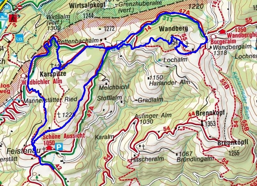 Karspitz (1239m) und Wandberg (1545m) von Feistenau in Rettenschöss
