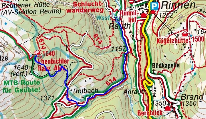 Ehenbichler Alm (1694m) von Rinnen bei Berwang