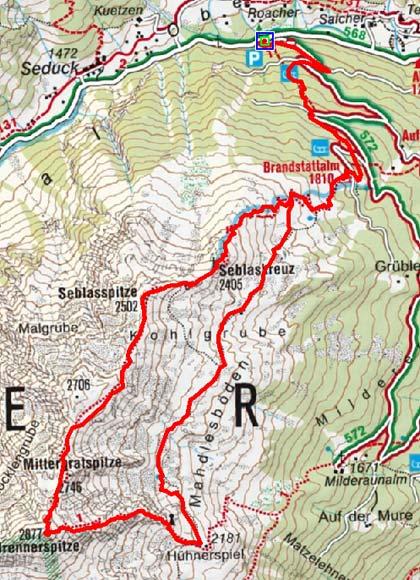 Seblaskreuz-Brennerspitze (2405/2877 m) aus dem Oberbergtal