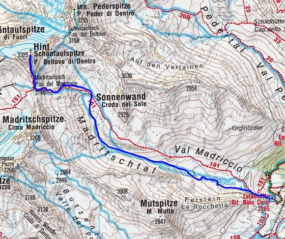 Hintere Schöntaufspitze (3325 m) von der Zufallhütte