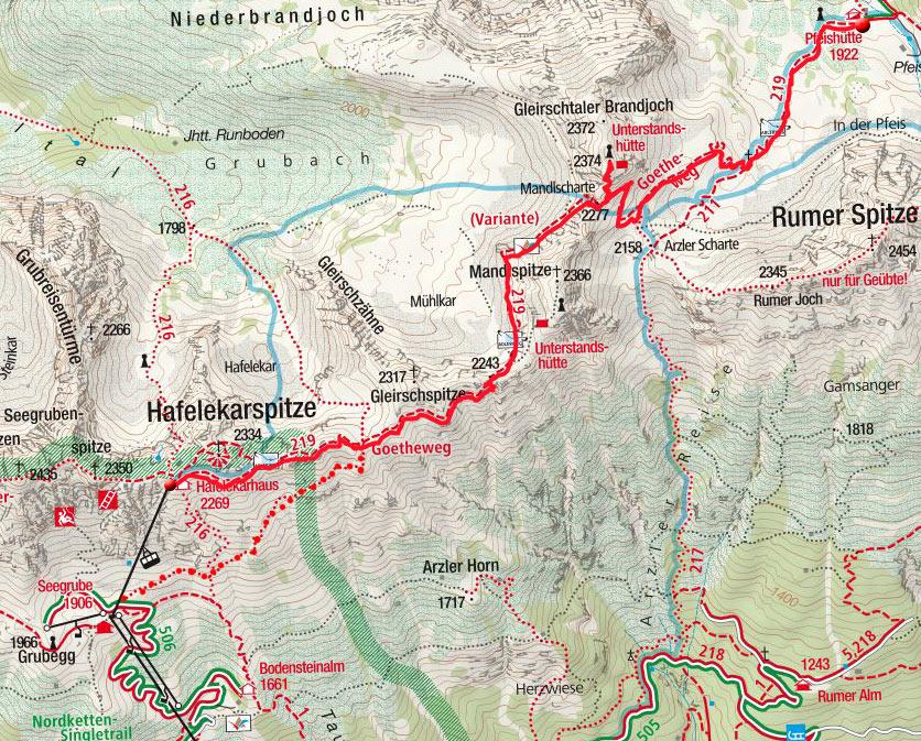 Tag 1: Vom Hafelekar am Goetheweg zur Pfeishütte
