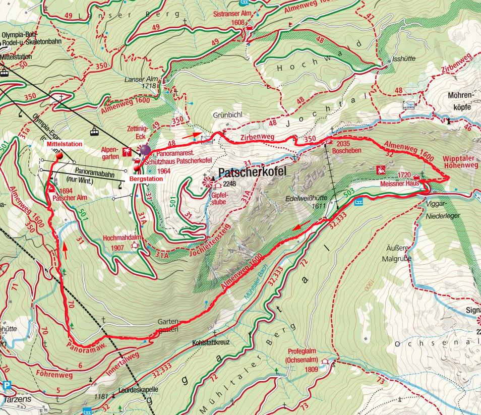 Rund um den Patscherkofel mit Teilstück Almenweg 1600