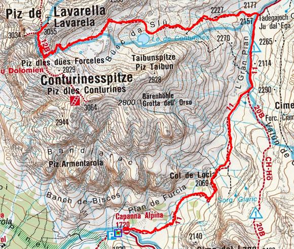 Lavarella (3055 m) von der Capanna Alpina