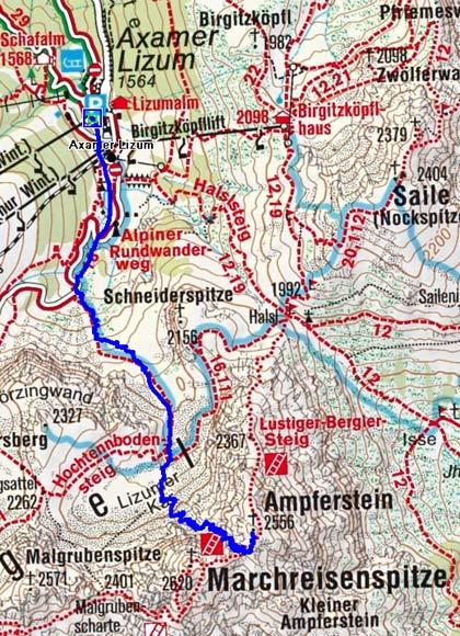 Ampferstein (2556 m) aus der Axamer Lizum