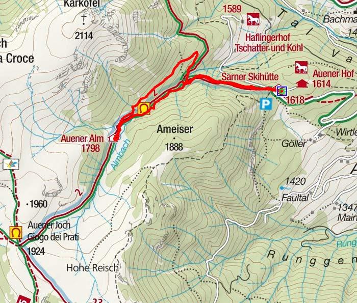 Auener Alm (1798 m) von der Sarner Skihütte