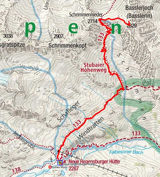 Basslerjoch (2829 m) von der Neuen Regensburger Hütte