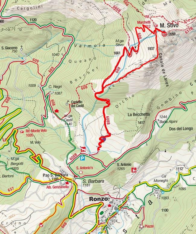 Monte Stivo (2059 m) vom Passo Santa Barbara