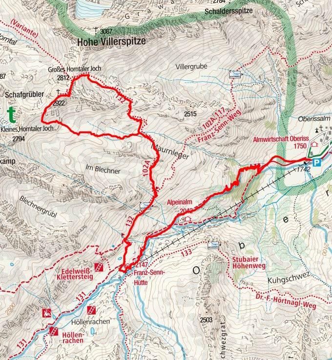 Schafgrübler (2922 m) von der Oberiss Hütte