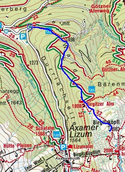Birgitzer Alm-Birgitzköpfl (1982 m) vom Parkplatz Birgitzeralm