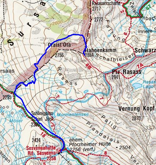 Caist'Alta (2884 m) von der Sesvennahütte