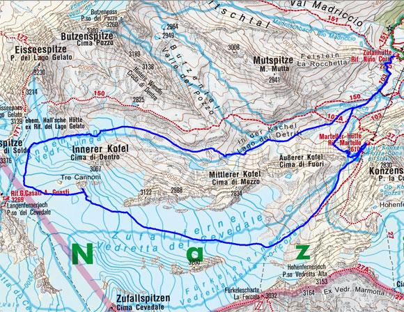 Cima Tre Cannoni (3275 m) von der Zufallhütte