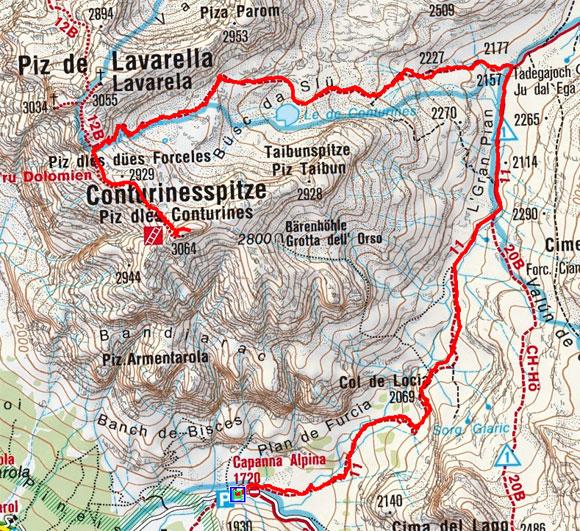 Conturinesspitze (3064 m) von der Capanna Alpina