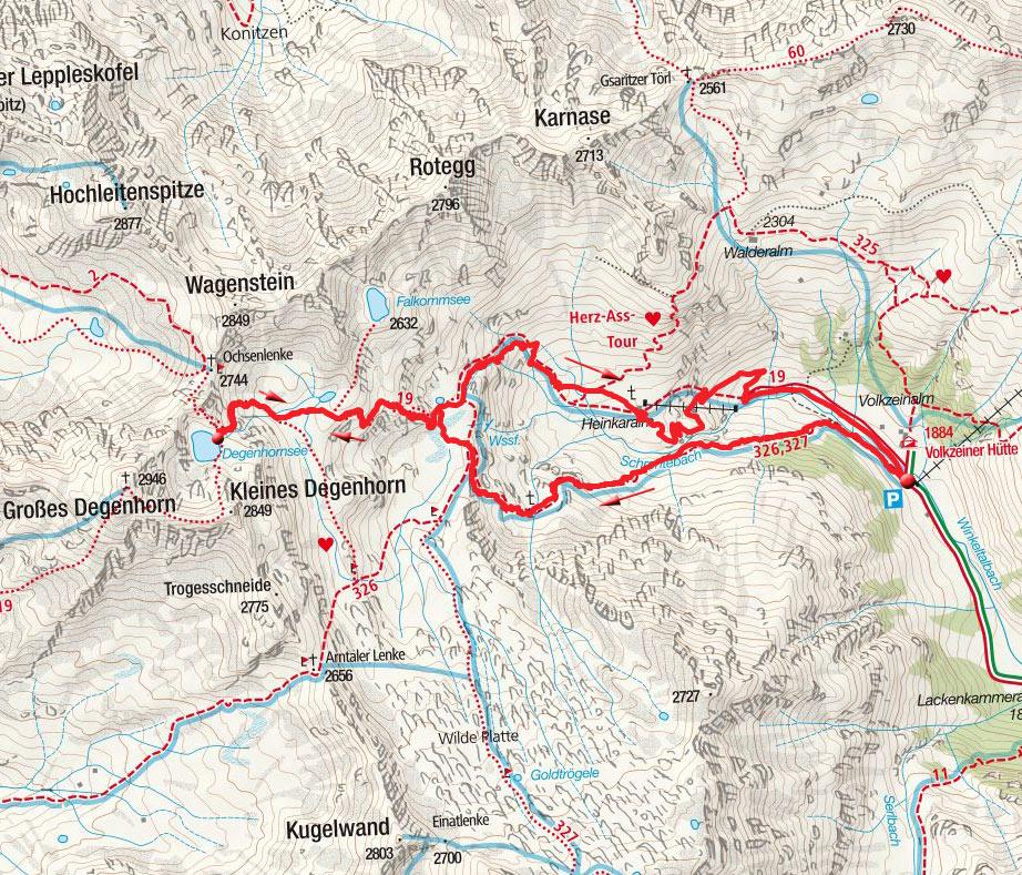 Degenhornsee (2700m) von der Volkzeiner Hütte