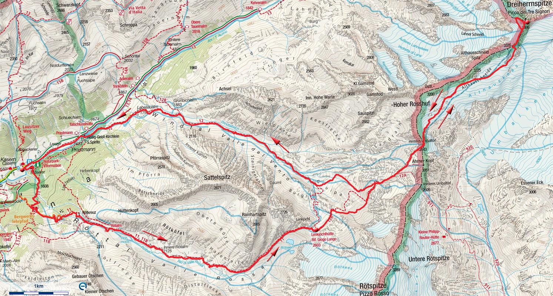 Dreiherrenspitze (3499m) von Kasern