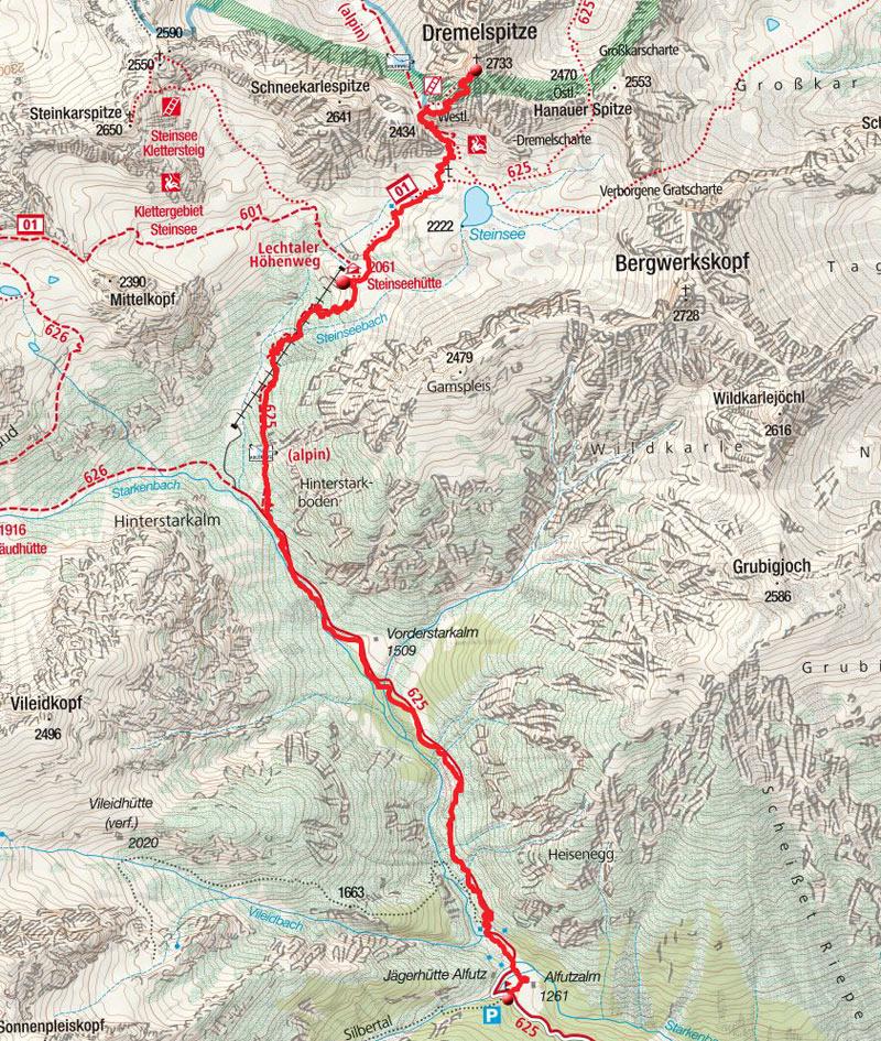 Dremelspitze (2733m) von der Alfuzalm