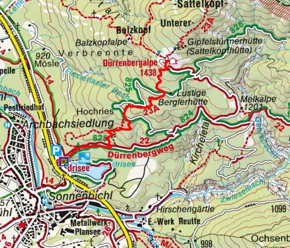 Jausenstation Dürrenberg Alm (1438 m) vom Urisee