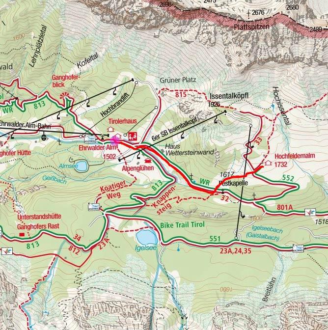 Hochfeldern Alm (1732 m) von der Ehrwalder Almbahn