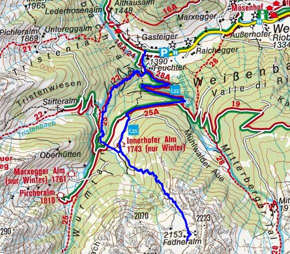 Fadneralm (2153 m) aus dem Weissenbachtal