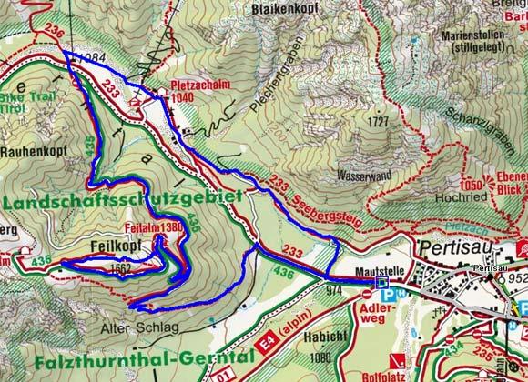Feilalm-Feilkopf (1372/1562 m) von Pertisau