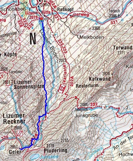 Geier (2857 m) von der Lizumer Hütte