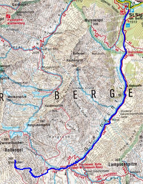Gleirscher Roßkogel (2994 m) von St. Sigmund