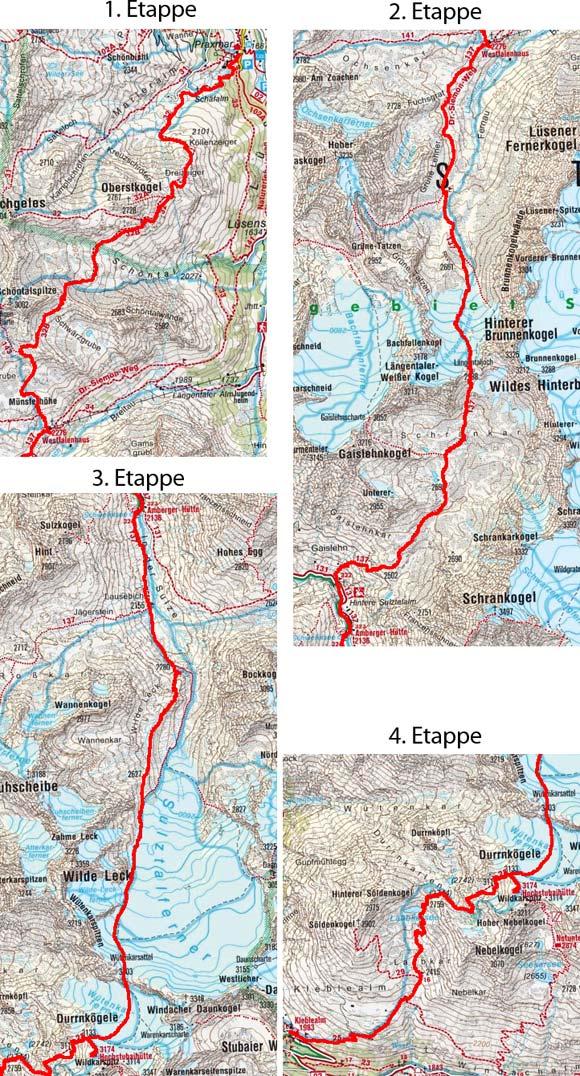 Aus dem Sellraintal in das Ötztal (Gletschertour–4 Tagesetappen)