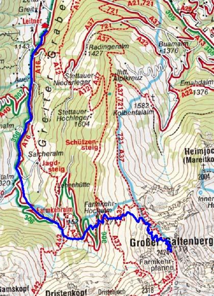 Großer Galtenberg (2424 m) aus dem Greiter Graben