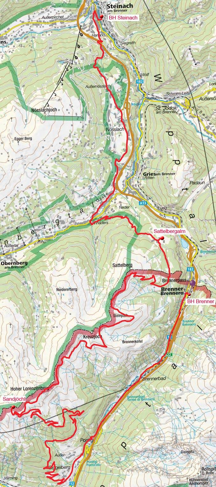 Brenner-Grenzkamm Überquerung vom Brenner nach Steinach