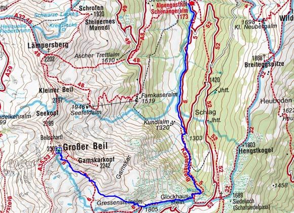 Grosser Beil (2309 m) von der Schönangeralm
