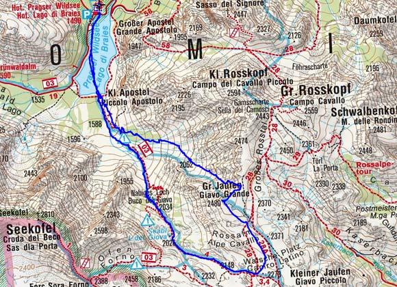 Großer Jaufen (2480 m) vom Pragser Wildsee