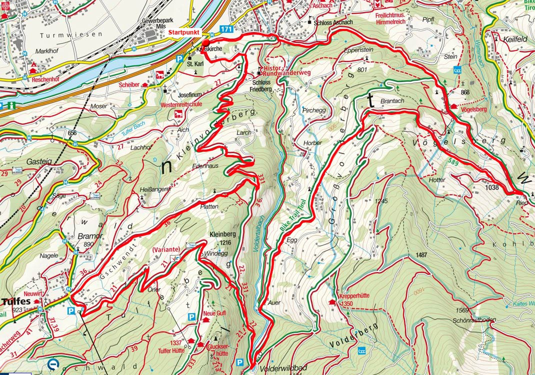 Großvolderberg – Windegg Rundfahrt von Volders