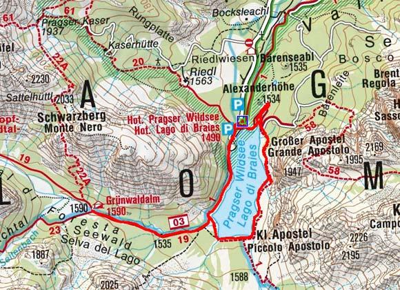 Grünwaldalm vom Parkplatz Pragser Wildsee