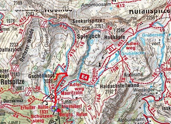 Gschöllkopf mit Adlerhorst (2039 m) von der Erfurterhütte
