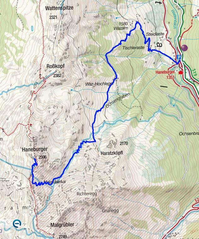 Hanneburger-Wintergipfel (2596 m) vom Gasthof Hanneburger