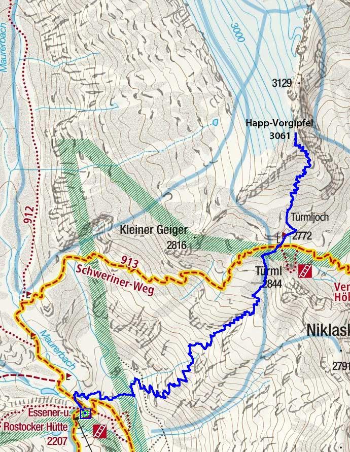Türmljoch & Happ-Vorgipfel (3061 m) von der Essener-Rostocker-Hütte